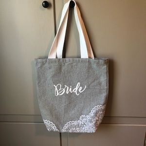 Bride Canvas and Lace Tote Bag